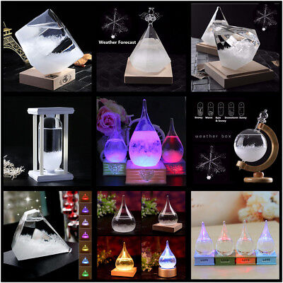 Weather Forecast Storm Glass Bottle Wooden Base Crystal Water Christmas Gifts