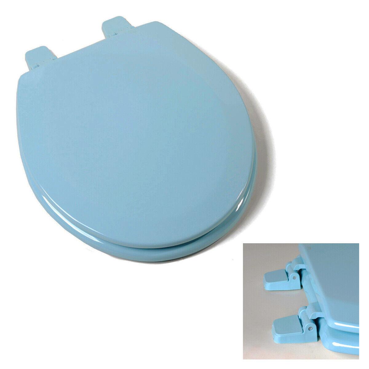Deluxe Regency Blue Round Wood Toilet Seat, Adjustable Hinges Bath