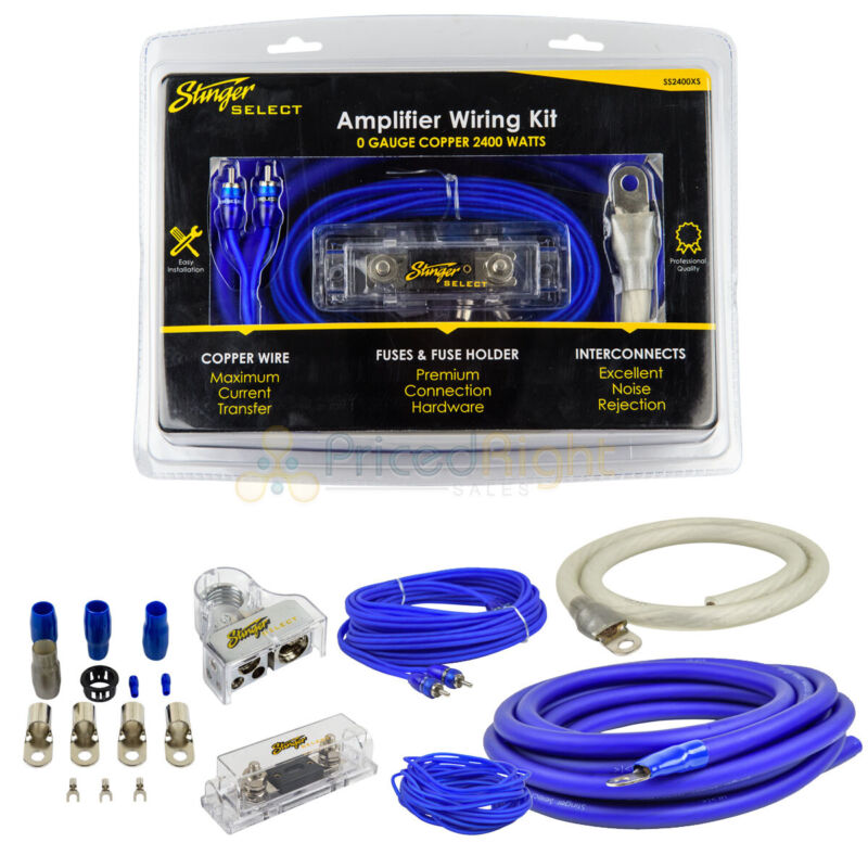 0 Gauge OFC Amplifier Wiring Kit Stinger Select Blue Amp Install 2400 Watts