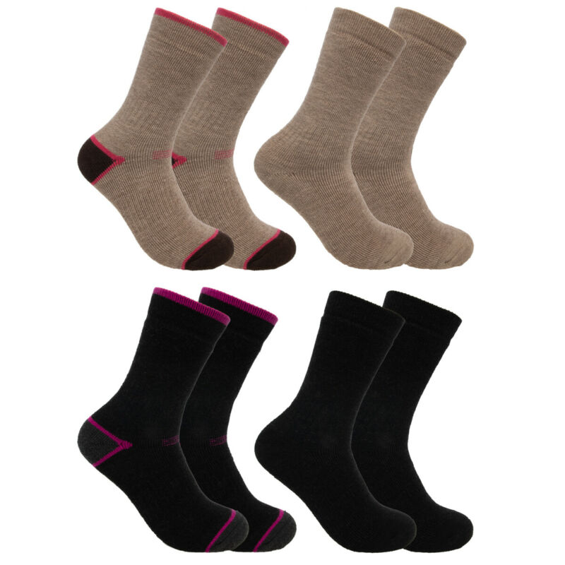 2 Pairs Women's Merino Wool Blend Socks Heavyweight Hiking Crew Outdoor Winter