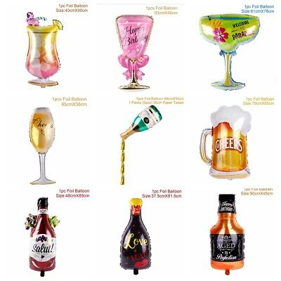 Champagne Cup Bottle Balloon Aluminium Foil Beer Birthday Bachelore Party Supply