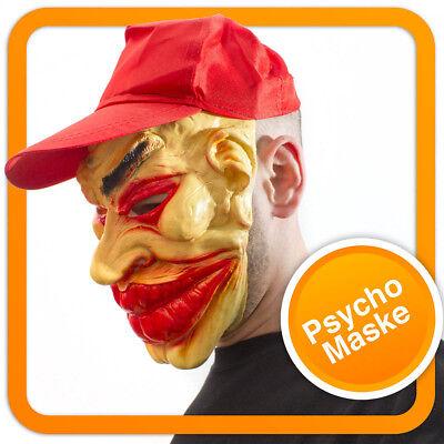Gangster Vollmaske mit Cap Ganove Maske aus Latex Joker Horror Clown Verkleidung