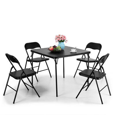 5pc. Series Folding Card Table and Chair Set, Black, 4 Black PVC material Chairs Folding Table Chairs Set