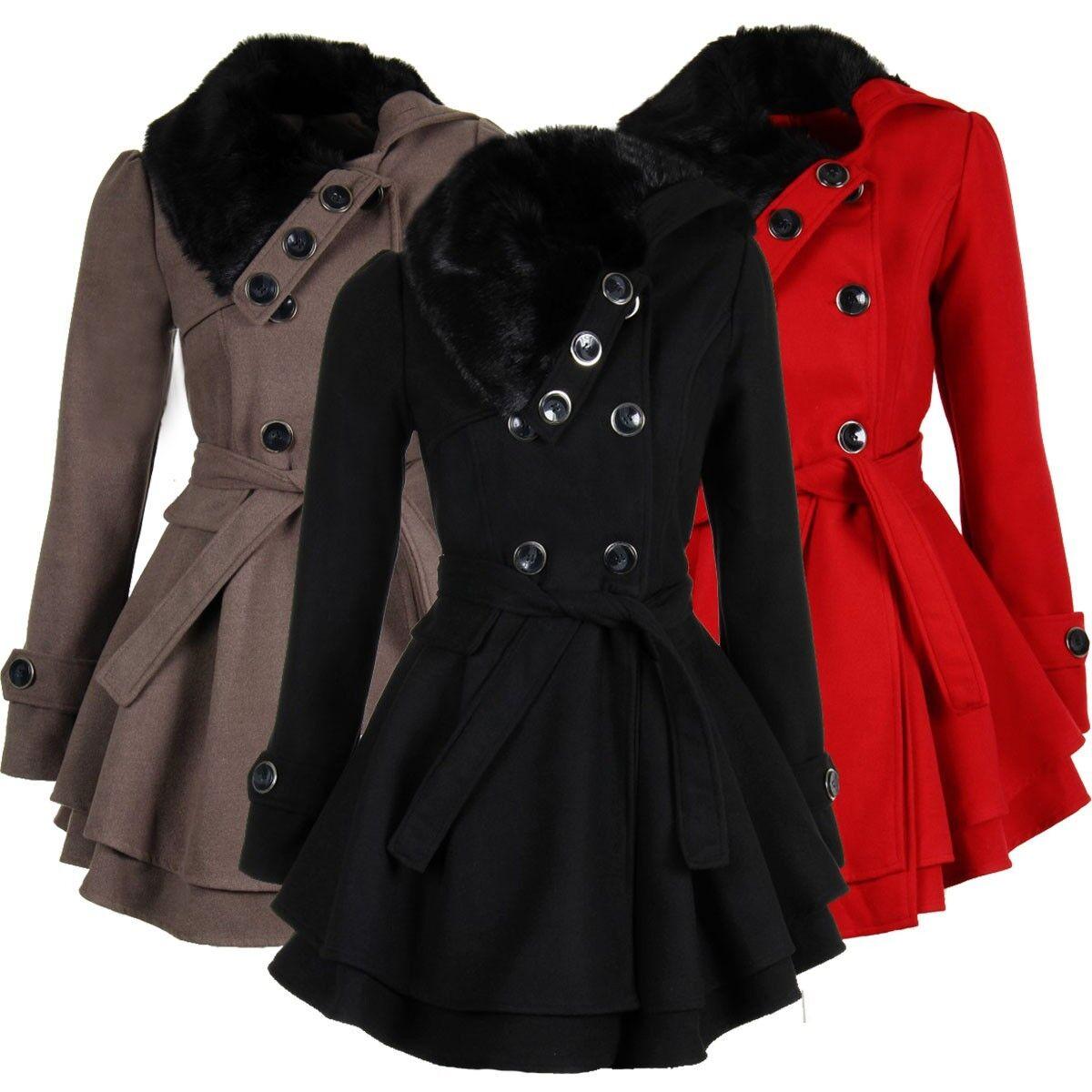 Laeticia Dreams Damen Mantel Jacke Winterjacke Mantel mit Fellkragen S M L XL