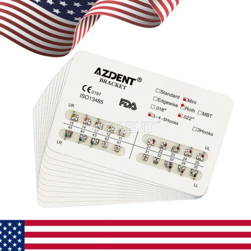 Azdent Dental Orthodontic Brackets Metal Brace Mini Roth Slot.022 Hooks 3-4-5