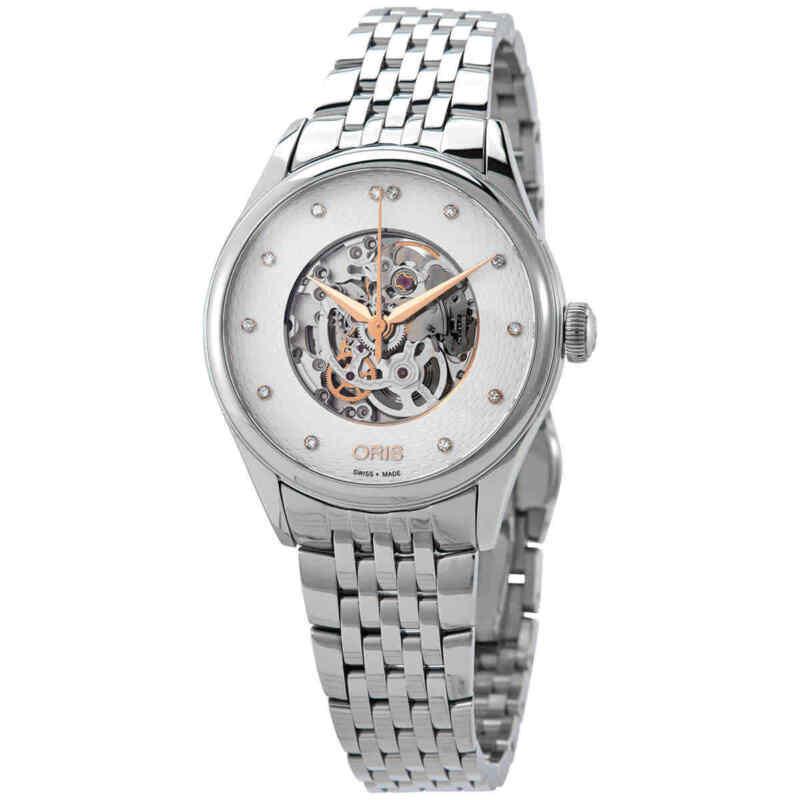 Oris Artelier Automatic Diamond Silver Skeleto Ladies Watch 01 560 7724 4031-07