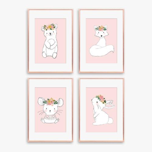 Woodland Animal Nursery Prints Childrens Bedroom Pictures Girls Decor Dusky Pink