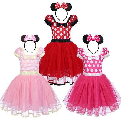 Minnie Maus Kinder Baby Kostüm Mädchen Geburtstag Partykleid Festkleid Stirnband (Minnie Maus Geburtstag Kleid)