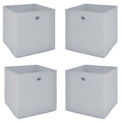 Faltbox 4er Set Flori Aufbewahrungsbox Büro Regal für Raumteiler weiß lichtgrau