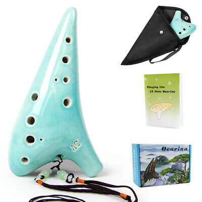 Ocarina 12 Hole Alto C with Song Book Display Stand Neck String Neck Cord