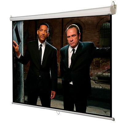 120 43 Manual Pull Down Auto-lock Projector Projection Screen White 96x72