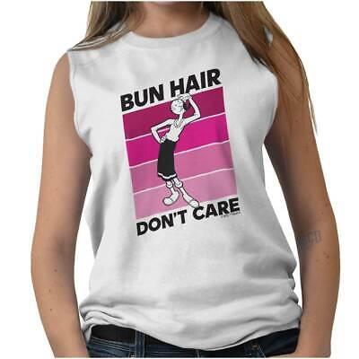 Olive Oyl Hair (Bun Hair Don't Care Olive Oyl Popeye Funny Womens Muscle Tank Top T-Shirt)
