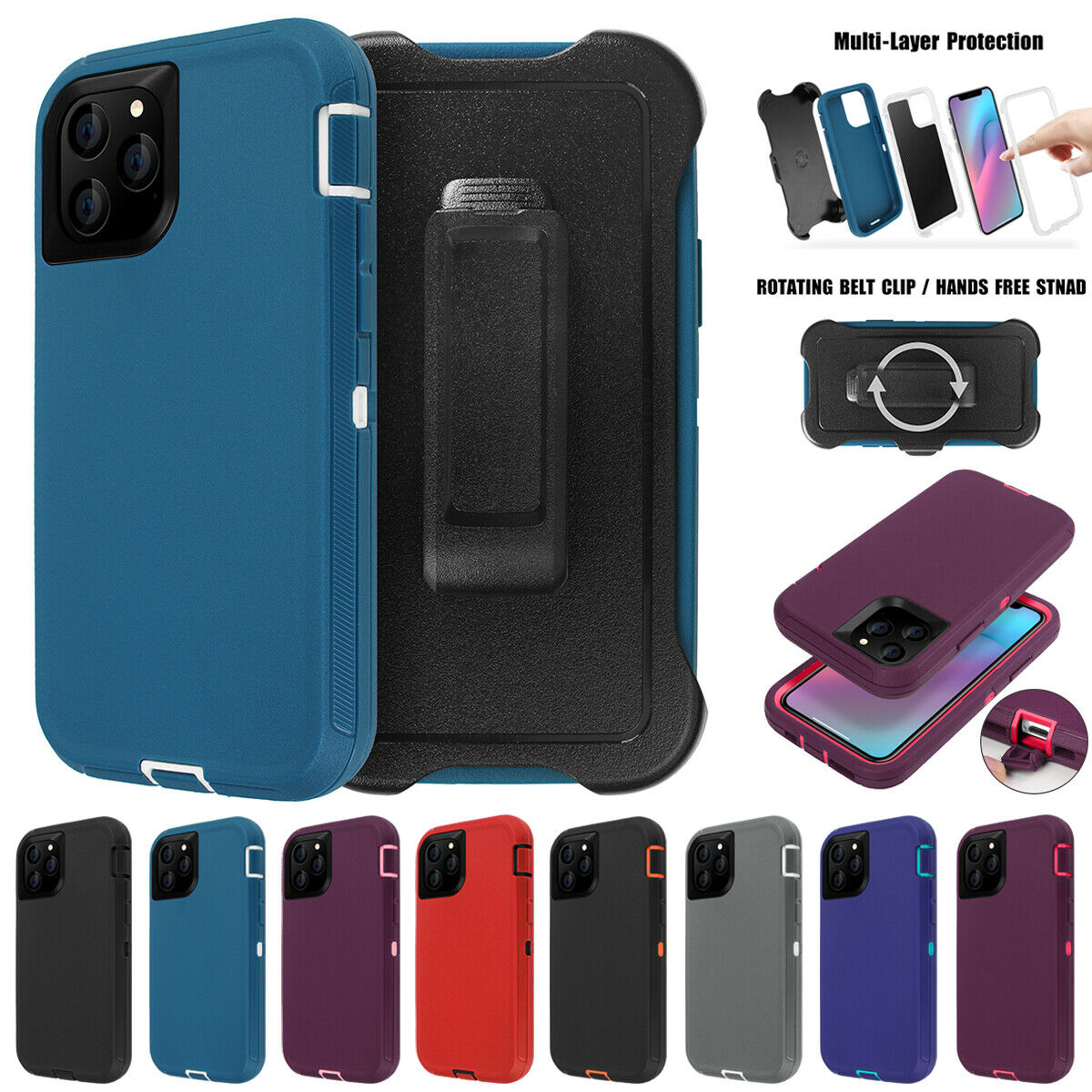 For iPhone 11 Pro Max Shockproof Hybrid Heavy Duty Case Full