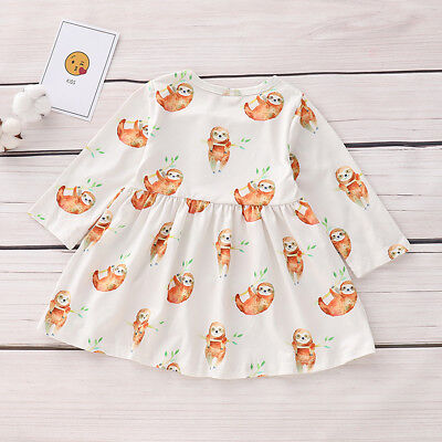 Infant Baby Girl Sloth Print Dress Long Sleeve Party Casual Dresses Kids Clothes (Casual Girl Dresses)