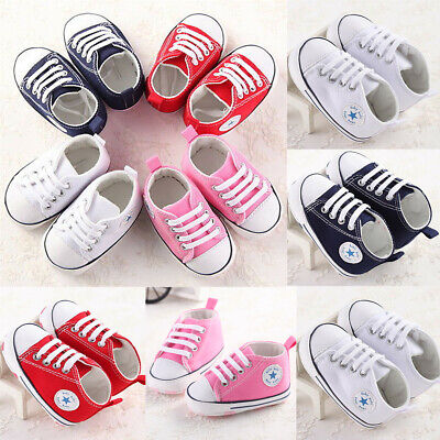 US Stock Newborn Baby Boys Girls Canvas Shoes Crib Shoes Sole Shoes Size 0-18M