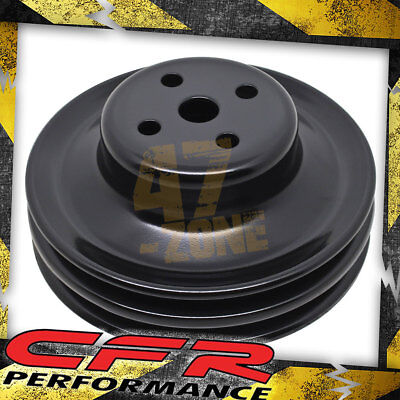 Steel Ford Sb 1965-1966 Water Pump Pulley - 2 Groove - Black Ford Water Pump Pulley