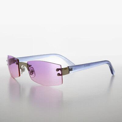 es Glas 90s Jahre Rahmenlosen Vintage Sonnebrille - Hannah (Rosa Getönte Sonnenbrille)