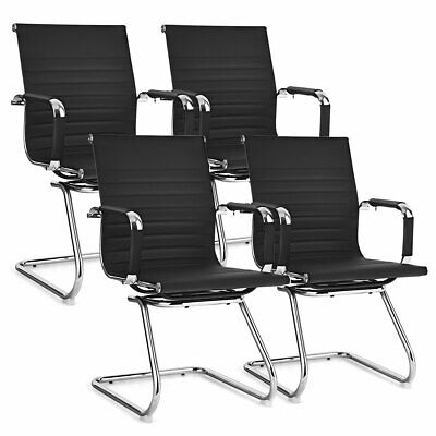 Costway 4 Pcs Office Guest Chairs Waiting Room Chairs For Reception Conference