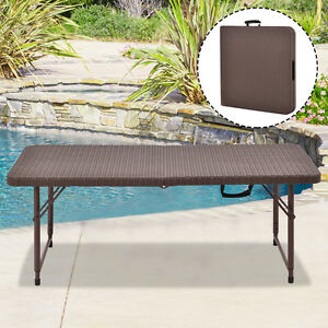 4u0027 Folding Table Rattan Portable Indoor Outdoor Picnic Party Dining Camping