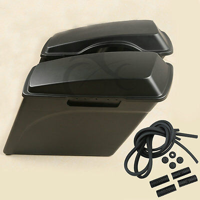 """Matte Black 5"""" Stretched Hard Saddle bags Bag For Harley Road King Street Glide  for sale  Rancho Cucamonga"""