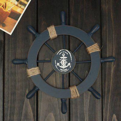 Luxury Wooden Nautical Beach Boat Ship Steering Wheel Fishing Shell Wall Decor - Boat Decorations