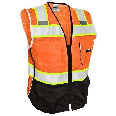 ML Kishigo Class 2 Reflective Black Bottom Safety Vest with Pockets, - Orange Vest