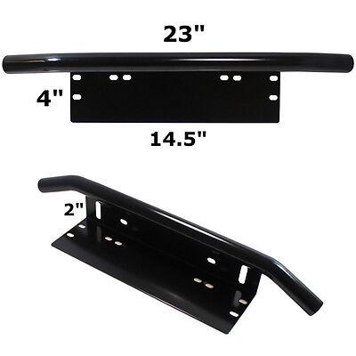 1x Black Bull Bar Front Off-road Bumper Spot Lights License Plate Holder Braket