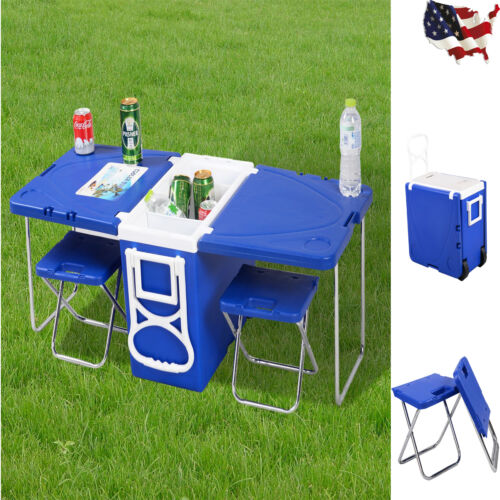 Multifunction Rolling Picnic Cooler w/ Table And 2 Chairs Ca