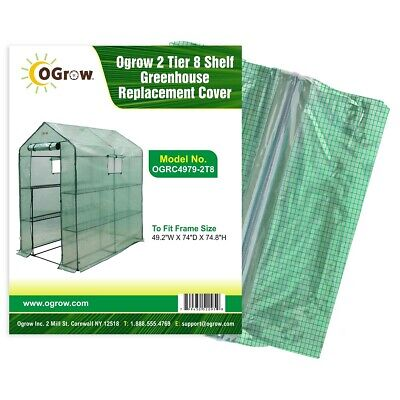 2 Tier Polyethylene Plastic Greenhouse Replacement Cover, 49W x 74D x 75H inches