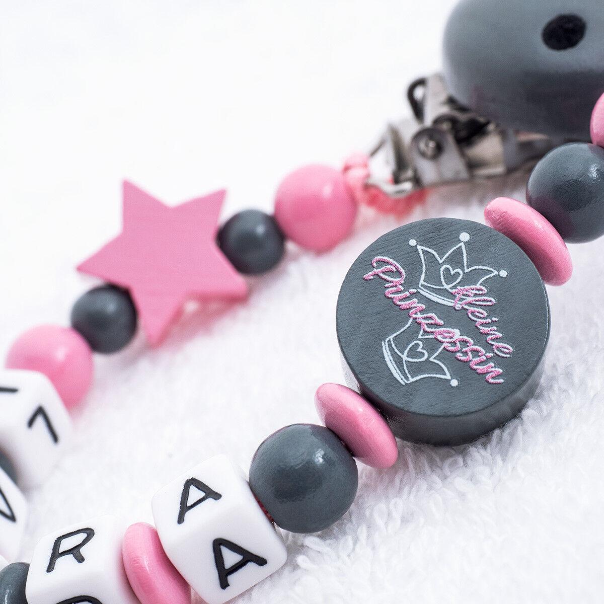Schnullerkette mit Namen ♥ Mädchen ♥ kleine Prinzessin ★ Baby rosa pink grau