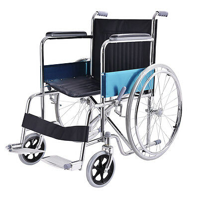 """24"""" Lightweight Foldable Stainless Steel Transport Wheel Chair w/ Footrest New"""
