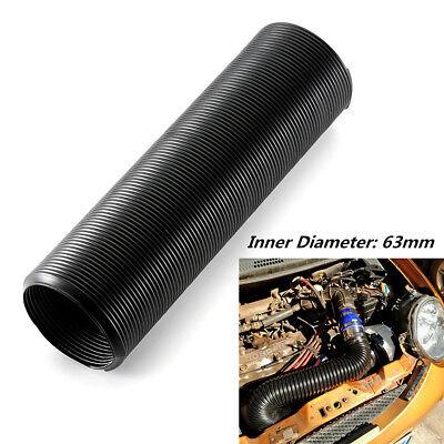 1m 63mm Black Car Air Filter Intake Cold Air Flow Feed Hose Flexible Universal