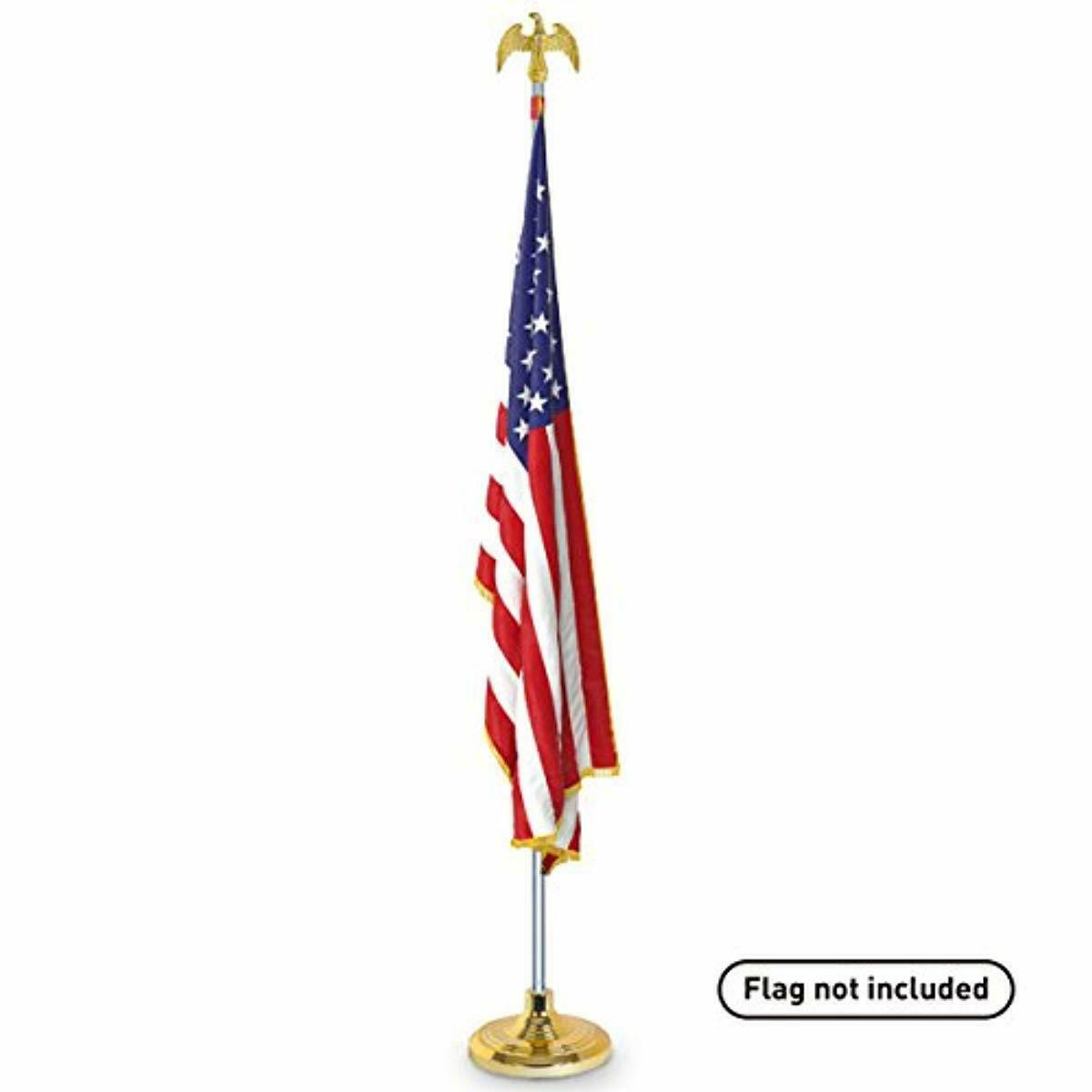 Indoor Flag Pole Telescoping Kit with Base Stand and Gold Am