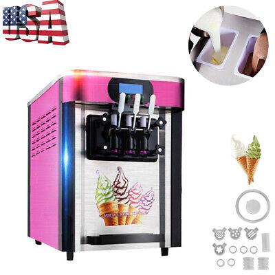 Usa Ship Commercial Soft Ice Cream Machine Desktop Automatic Drum 3 Flavors 110v