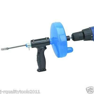 """Drain Cleaner 1/4"""" inch x 25' ft Portable Sewer Snake Clog Cable Auger Plumbing"""