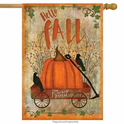"Prized Pumpkin Autumn House Flag Primitive Hello Fall 28"" x 40"" Briarwood Lane"