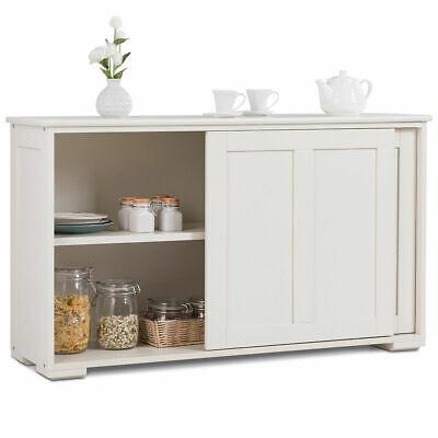 Kitchen Storage Cabinet Sideboard Buffet Cupboard Wood Sliding Door Pantry White