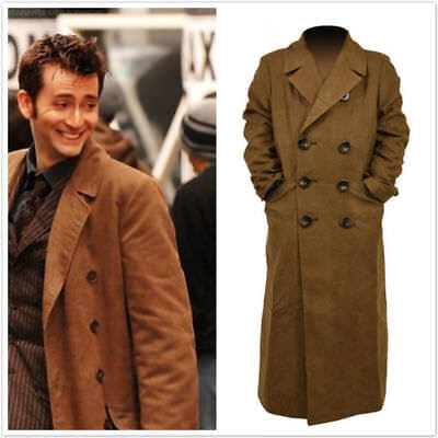 10th Doctor Who th Dr. Ten Brown Long Coat Trench Jacket Cosplay Costume JJ.25 - 10th Doctor Cosplay