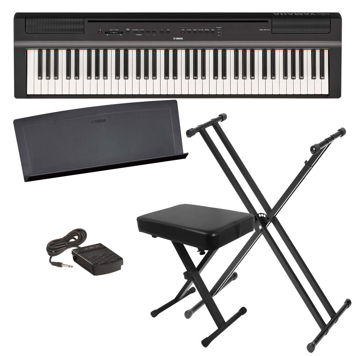 Yamaha P121B 73-Key Portable Digital Piano Black Beginner Bu