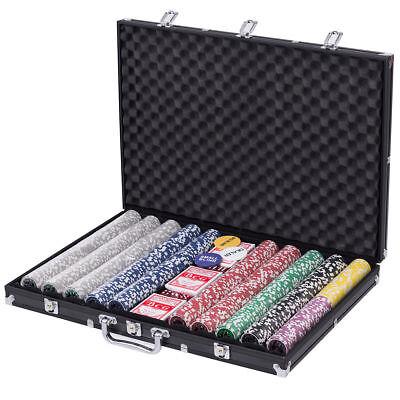 1000 Chips Poker Chip Set 11.5 Gram Holdem Cards Game with Black Aluminum Case