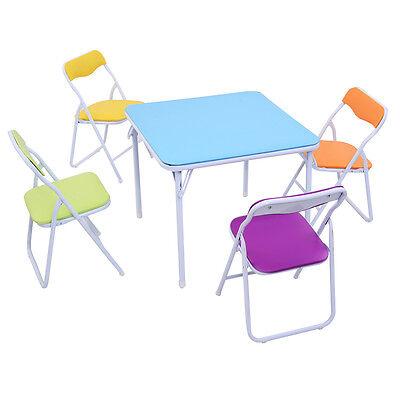 Kids 5 Piece Folding Table Chair Set Children Multicolor Pla