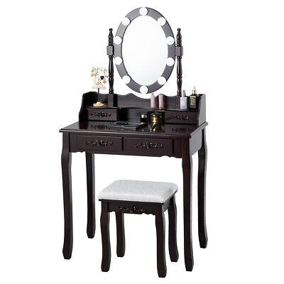Topbuy Make-Up Vanity Table Dresser Set w/LED Light, Black Brown White