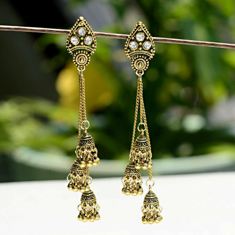 Traditional Tribal Silver Gold Tassel Jhumka Earrings Indian Bollywood Jewelry