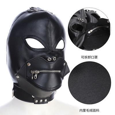 Zipper Mouth Halloween (Leather Mask Hood Zipper mouth gag Halloween Full Gimp Open Eyes lockable)