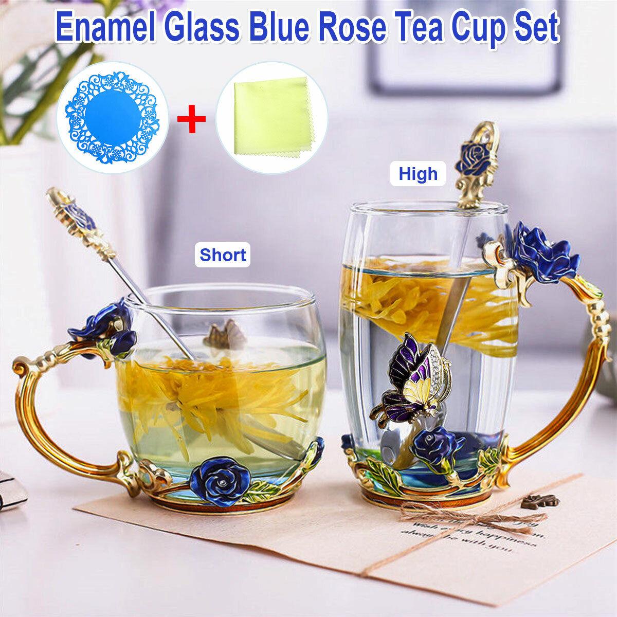 4pcs Cobalt-Blue Rose Enamel Glass Tea Cup Set+Spoon Coffee