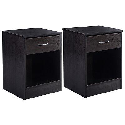 منضدة جانب السرير جديد 2 PCS Night Stand Bedroom End Table Bedside Furniture Drawer Sturdy Storage