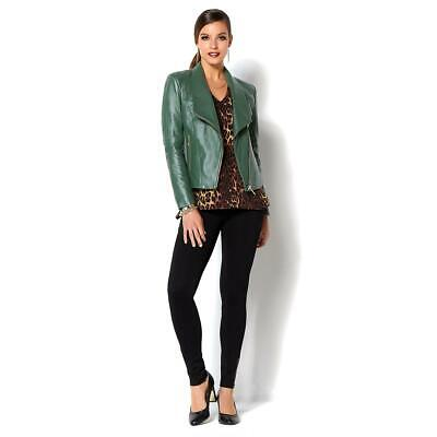 IMAN Platinum Buttery Soft Genuine Lamb Leather Jacket Lined Olive SZ XL NWT