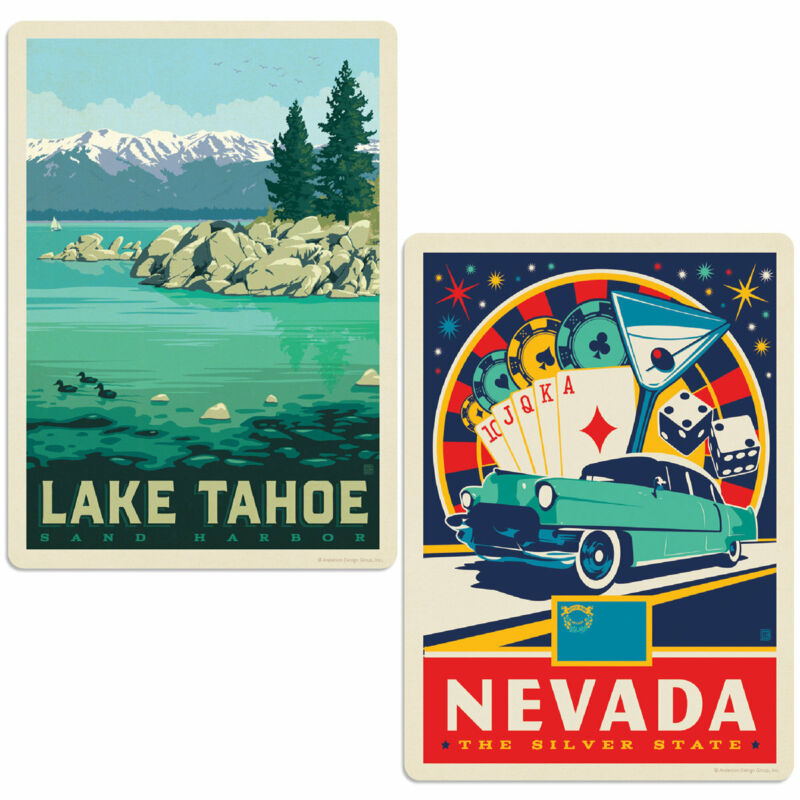 Lake Tahoe Nevada Silver State Sticker Set of 2 Vintage-Style Decals