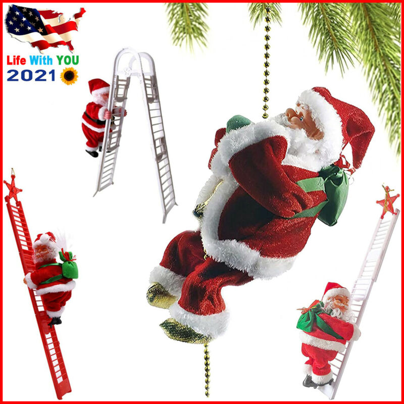 Electric Christmas Santa Claus Climbing Rope Ladder Musical Toy Xmas Gift Decor