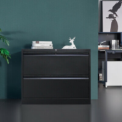 Black Metal Lateral File Storage Cabinet W2lockable Drawersanti-tilt Structure